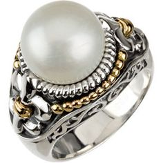 Sterling Silver & 14kt Yellow Freshwater Cultured Pearl Ring Size 6