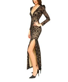 Look at this #zulilyfind! Black & Nude Lace V-Neck Dress by Sentimental NY #zulilyfinds