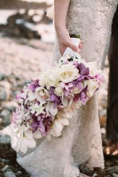 Stunning lavender and cream long bridal bouquet by Petals of Bliss Wedding Design - Anna Kim Photography