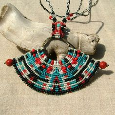Mayan micro macrame necklace with red coral by MammaEarthCreations, $54.00