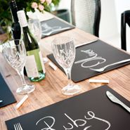 Chalkboard placemets as seating cards and bobonaires?