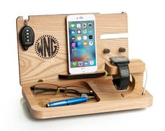Mens gift, Iphone 7 & apple watch docking station, personalized gift for boyfriend, eye and wallet dock, mens desk organizer, iwatch stand