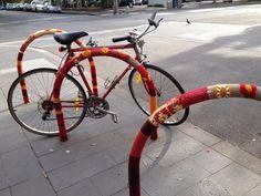 Yarn Bombing in Coburg Mall - Bike Racks.