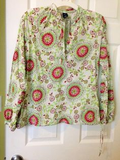 GAP Women's Floral Boho Peasant Long Sleeve Floral Tunic Top Cotton SMALL #GAP #PeasantTunicTop #Any