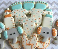 One Dozen Welcome Baby / Baby Shower Decorated Sugar Cookies Galletas Cookies, Baby Cookies, Baby Shower Cookies, Cute Cookies, Sugar Cookies, Elephant Baby Showers, Baby Elephant, Baby Boy Shower, Elephant Cupcakes