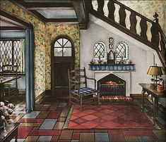 English Revival style homes were extremely popular during the late 1920s and 1930s. This entry way is a stylized image, but would have been pretty in one of the small cottages like the 1930 Montgomery Ward Newport. Source: Delineator