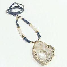 Geode Pendant Necklace, $72.00 by JordanLovesJamesJewelry