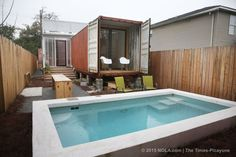 simple container home with pool