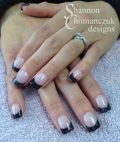 Custom mixed black and hologram glitter french acrylic nails by Shannon Chomanczuk