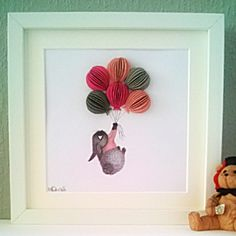 Baby Bunny with Pink Balloons, Nursery Wall Art in 3D £35.00