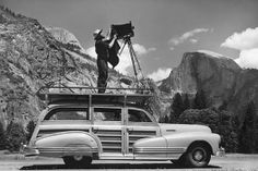 When words become unclear, I shall focus with photographs. When images become inadequate, I shall be content with silence. ~ Ansel Adams / Photo: Ansel Adams photographing at Yosemite in 1942