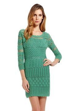 Crochetemoda: Vestido de Crochet Verde