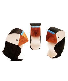 Puffin Carvings by Samuel Lindup...some of his work is over the top, but these are beautiful in their subtlety and clean lines