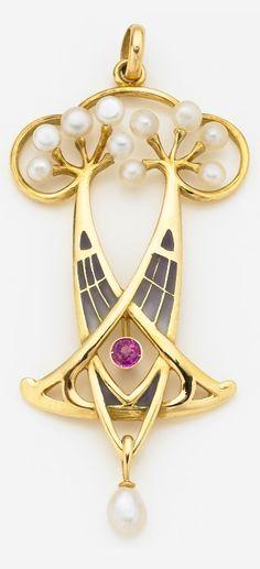An Art Nouveau gold, enamel, pearl and paste pendant. Bijoux Art Nouveau, Art Nouveau Jewelry, Jewelry Art, Antique Jewelry, Jewlery, Vintage Jewelry, Fine Jewelry, Jewelry Design, Pearl Pendant