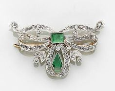 BELLE ÈPOQUE EMERALD AND DIAMOND BOW BROOCH Diamond Bows, Belle Epoque, Brooches, Emerald, Fine Jewelry, Brooch, Emeralds, Jewelry