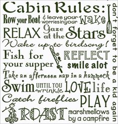 "THE CABIN RULES - Cabin Life Quotes 100% Cotton Flour Sack Dish Towel / Tea Towel, 26"" x 26"""
