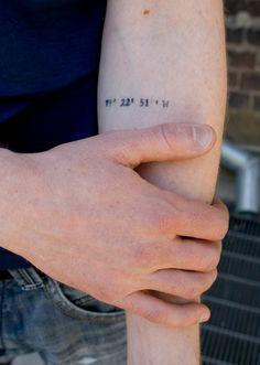 coordinate tattoo, missing my new b home! Cool idea