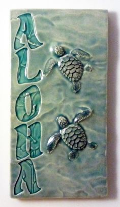 Home decor, wall art, Aloha honu tile, ceramic tile, decorative art tile. by MedicineBluffStudio on Etsy