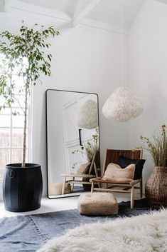 Bedroom with huge mirror and plants in white, open plan barnYou can find Presentation boards and more on our website.Bedroom with huge mirror and plants in white, open plan barn Decoration Inspiration, Interior Design Inspiration, Decor Ideas, Inspiration Boards, Living Room Inspiration, Room Ideas, Home Design, Home Interior Design, Interior Stylist