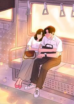 A cartoon illustrator, myeongminho that capture the everyday colors. Cute Couple Drawings, Cute Couple Art, Anime Love Couple, Couple Cartoon, Cute Drawings, Aesthetic Anime, Aesthetic Art, Romantic Couples, Cute Couples