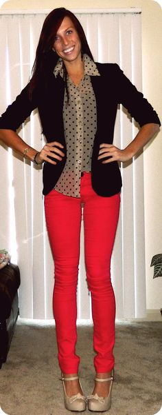 monicas notebook: red skinnies & polka dots
