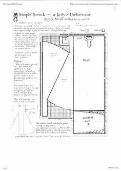 "LargeSmock.jpg (1200×1697) - Simple Smock - A Lady's Underwear, bust to 54"""