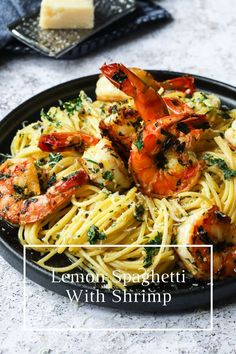 Easy and elegant Lemon Spaghetti with Shrimp. This bright and flavourful lemon pasta dish is tossed with pan seared jumbo shrimp that are marinated in an Italian gremolata sauce. Vegetarian Pasta Recipes, Healthy Pasta Recipes, Noodle Recipes, Clean Recipes, Seafood Recipes, Dinner Recipes, Spaghetti With Shrimp Recipes, Lemon Spaghetti, Lemon Pasta