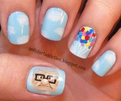 UP Nails! But with the house on the thumb instead... | Disney Fashion Alert: 25 Awesome Disney Movie Nail Art Ideas Disney Nail Designs, Cute Nail Designs, Simple Nail Art Designs, Inspirado En Disney, Unhas Disney, Diy Disney Nails, Love Nails, How To Do Nails, Pretty Nails