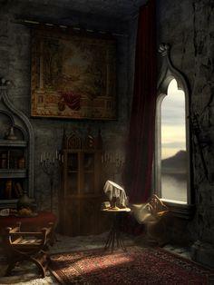 the depleted details in this abandoned medieval castle Fantasy Places, Fantasy World, Fantasy Art, Fantasy Inspiration, Story Inspiration, Half Elf, Fantasy Setting, Illustration, Fantasy Landscape