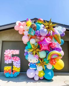 """Balloon Art Installations on Instagram: """"✨ Kaia's Summer Jam ✨ Thanks to @instagram I met a lovely party mama named @housejerkens who asked me to brighten up her 5 year old's yard…"""" Balloon Backdrop, Balloon Garland, Birthday Balloon Decorations, Birthday Balloons, Birthday Goals, Birthday Party Themes, Balloons Galore, Balloon Bouquet, Girl First Birthday"""
