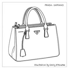 PRADA - SAFFIANO BAG- Designer Handbag Illustration / Sketch / Drawing / CAD / Borsa Disegno