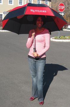 "Rutgers College Alumni and Pediatrician Dr. Naomi Hill Hugh lookin' good Under my Rutgers Gustbuster® Dual Canopy Pro Series 62"" Golf Umbrella. Available @: http://greekgearworld.com"