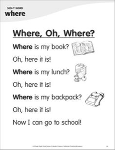 Lost and found–that's the theme of this question-and-answer poem that focuses on the sight word, where. The poem also features simple text and rebus pictures so students can master this sight word–independently. Reading Comprehension Worksheets, Reading Fluency, Reading Passages, Kindergarten Reading, Kids Reading, Sight Word Sentences, Sight Words, English Lessons, Learn English
