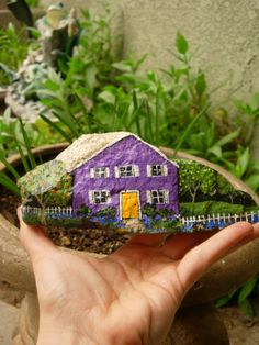 Purple House painted rock-- We need some houses like this for our fairy gardens!