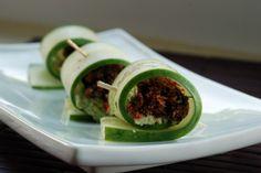 Raw Vegan Smoked Salmon and Scallion Cashew Cheese Cucumber Rolls