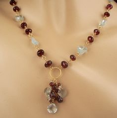SALE 35% off - Aquamarine Necklace Red Garnet Choker 14k Gold Fill Dangle  Wire Wrapped Rosary. $152.75, via Etsy.