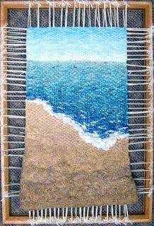 Dimensional Weaving - Martina Celerin fiber art: Beaches, brains and rhubarb pie… Weaving Wall Hanging, Hanging Fabric, Fabric Art, Weaving Loom Diy, Weaving Art, Textiles, Beach Canvas Wall Art, Tapestry Loom, Hello Kitty Wallpaper