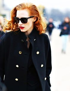 Red hair + red lips. TopShelfClothes.com #jessicachastain