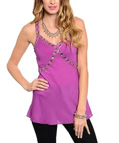 Look at this Magenta Bejeweled Tank on #zulily today!