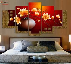 5 Piece Canvas Oil Painting Cuadros Decoracion  Modular Picture  HD Print Wall Pictures For Living Room Paintings Flower Vase