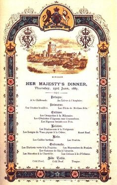 Golden Jubilee menu
