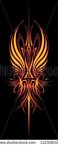 Fire Wing Pinstripe: Vertical Version Two color vector illustration of a…