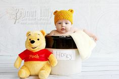 Crochet Winnie the Pooh Bear Cub Ears Hat/Beanie - Customize Colors  www.peanutlilly.etsy.com