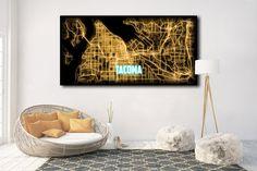 Tacoma WA Large Map Canvas Art Tacoma Washington by NightLightMaps
