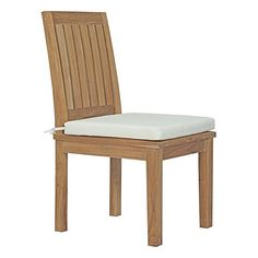 Marina 7 Piece Outdoor Patio Teak Outdoor Dining Set your greatest expectations with this luxurious solid teak wood outdoor set. Marina has a seating arrangement perfect for every member of your crew as you breathe the fresh, cr Dining Furniture Sets, White Dining Chairs, Outdoor Dining Chairs, Side Chairs, Outdoor Living, Outdoor Furniture, Teak Furniture, Dining Sets, White Cushions