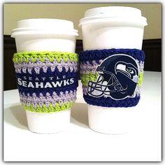 crochet Seahawks Coffee Cozy https://www.facebook.com/StylesByFaith