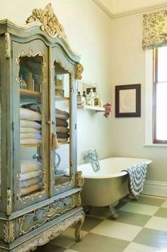 Linen cabinet in the bathroom