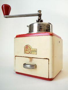 Vintage Coffee Grinder Cream and Red -1930s Art Deco Garantie B.O.. $56.00, via Etsy.