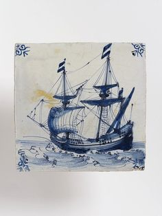 Wall tile with painted decoration depicting a ship. Ox-head corners. Blue outlined in manganese. V C.569:3-1923