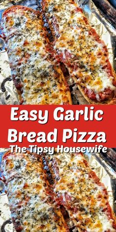 Garlic bread pizza that is easy to make for a weeknight dinner or after school snack. Garlic bread pizza that is easy to make for a weeknight dinner or after school snack. Potluck Recipes, Easy Dinner Recipes, Easy Meals, Cooking Recipes, Pizza Recipes, Weeknight Recipes, Pizza Snacks, Fast Dinners, Winter Dinner Recipes